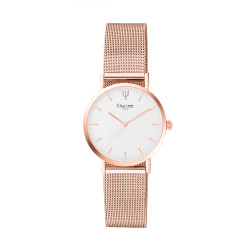 Thin watch with rose gold metal bracelet and white dial