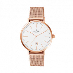 Clean style oversized watch white dial date fonction and rose gold bracelet in Milanese Mesh interchangeable