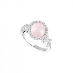 Bague perle rose et losanges en argent 925 par Elsa Lee