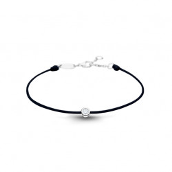 Clear Spirit bracelet from Elsa Lee Paris: one close set Cubic Zirconia 0,2ct on a black cotton waxed lace