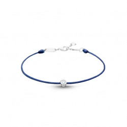 Clear Spirit bracelet from Elsa Lee Paris: one close set Cubic Zirconia 0,2ct on a blue cotton waxed lace