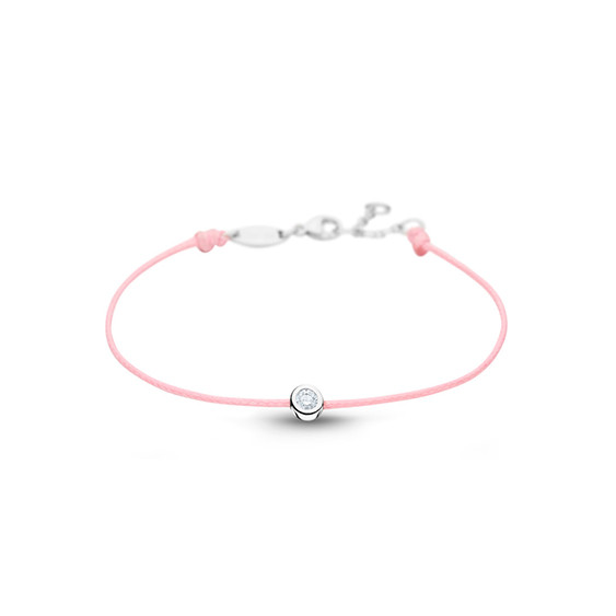Clear Spirit bracelet from Elsa Lee Paris: one close set Cubic Zirconia 0,2ct on a pink cotton waxed lace