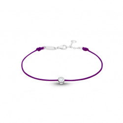 Clear Spirit bracelet from Elsa Lee Paris: one close set Cubic Zirconia 0,2ct on a purple cotton waxed lace