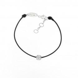 Black cotton cord bracelet with a square close set cubics zirconia. Silver 925