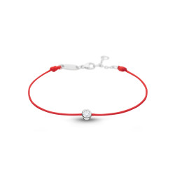 Clear Spirit bracelet from Elsa Lee Paris: one close set Cubic Zirconia 0,2ct on a red cotton waxed lace
