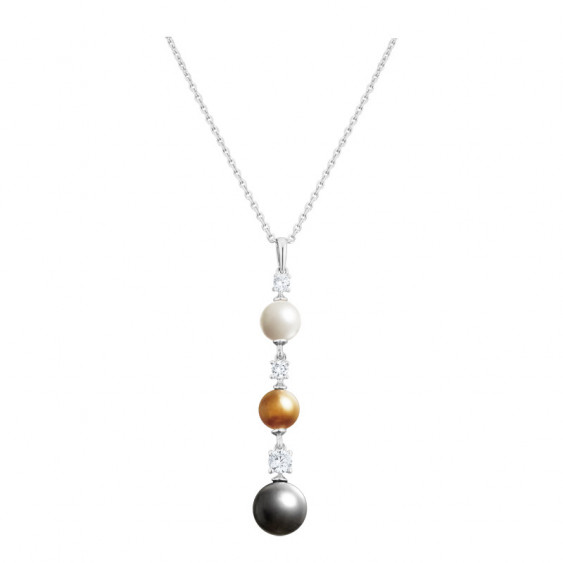 Elsa Lee Paris sterling silver necklace with 3 coloured pearls and 3 Cubic Zirconia