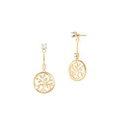Boucles d'oreilles Arbre de Vie pendantes dorée sur Argent par Elsa Lee Paris