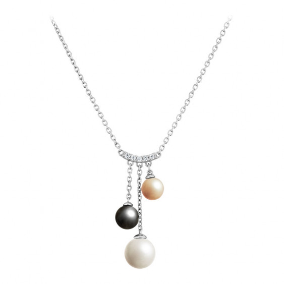 Elsa Lee Paris sterling silver necklace with 3 grey, white and gold pearls and 5 clear Cubic Zirconia