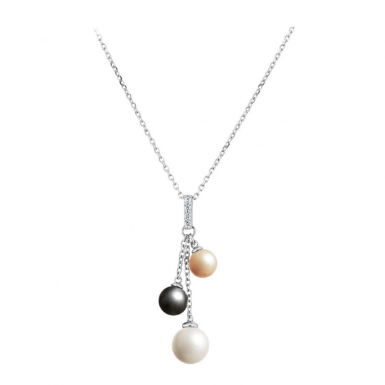 Elsa Lee Paris sterling silver necklace with 3 grey, white and gold pearls and 4 clear Cubic Zirconia
