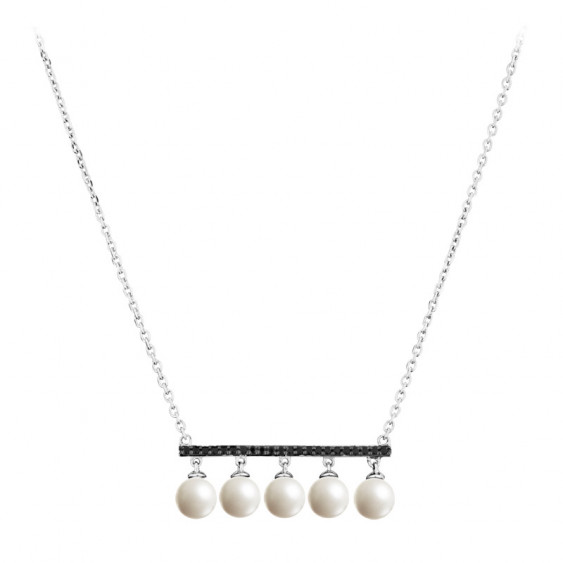 Elsa Lee Paris sterling silver necklace with 5 white pearls and 22 black Cubic Zirconia