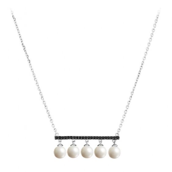 Collier Elsa Lee Paris, collection Perles Black & White avec ligne horizontale d'oxydes de Zirconium noirs et perles blanches