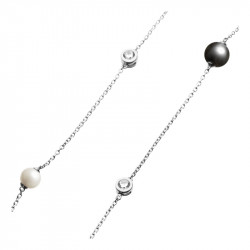 Collier sautoir Elsa Lee Paris en argent 925, avec perles blanches et noires et oxydes de Zirconium incolores