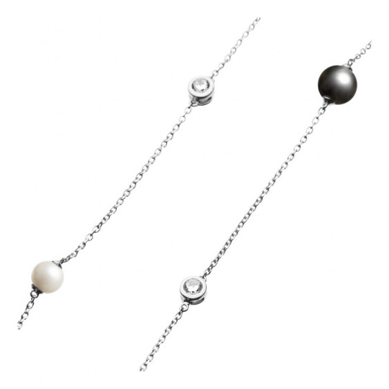 Elsa Lee Paris sterling silver long necklace,100cm with 8 clear Cubic Zirconia, 4 grey pearls and 4 white pearls