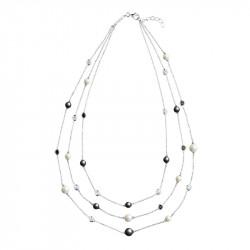 Collier sautoir trois tours perles noires et blanches en argent Elsa Lee Paris - Collier 3 tours noir et blanc