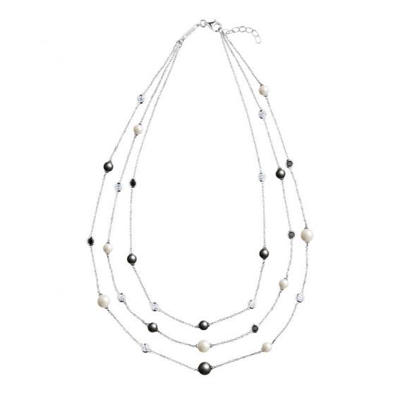 Collier sautoir trois tours en argent Elsa Lee Paris, avec perles noires et blanches et oxydes de Zirconium blancs et noirs