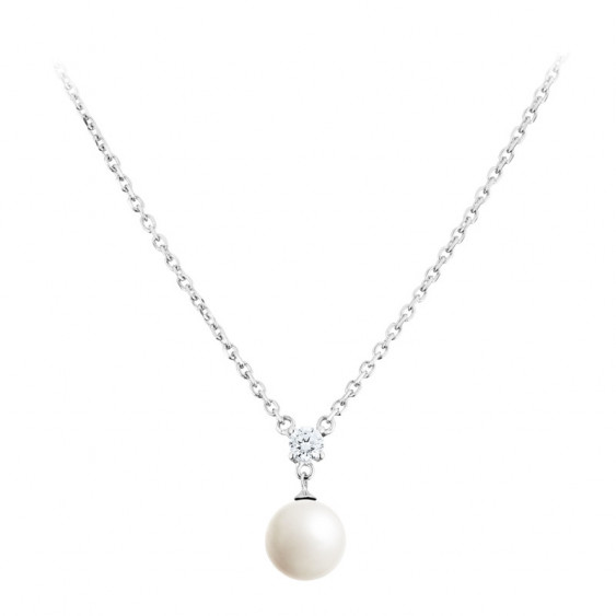 Elsa Lee Paris sterling silver necklace with 1 white pearl and 1 clear Cubic Zirconia