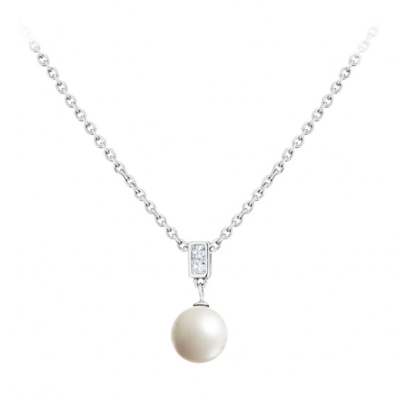 Collier Elsa Lee Paris, collection perles en argent, perle blanche et oxydes de Zirconium