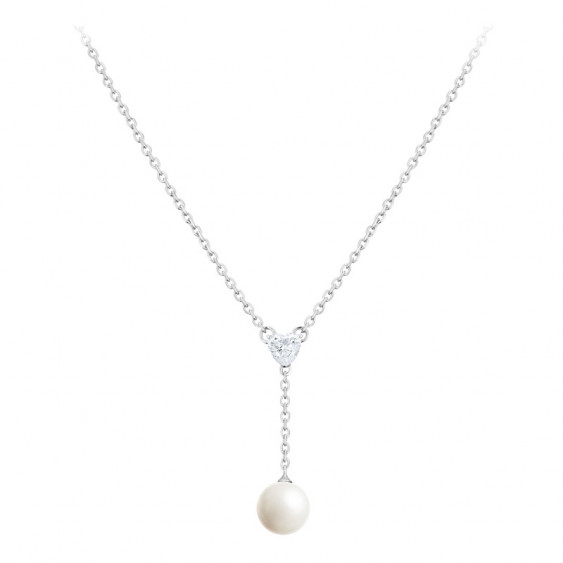 Elsa Lee Paris sterling silver necklace with 1 white pearl and 1 heart shaped clear Cubic Zirconia