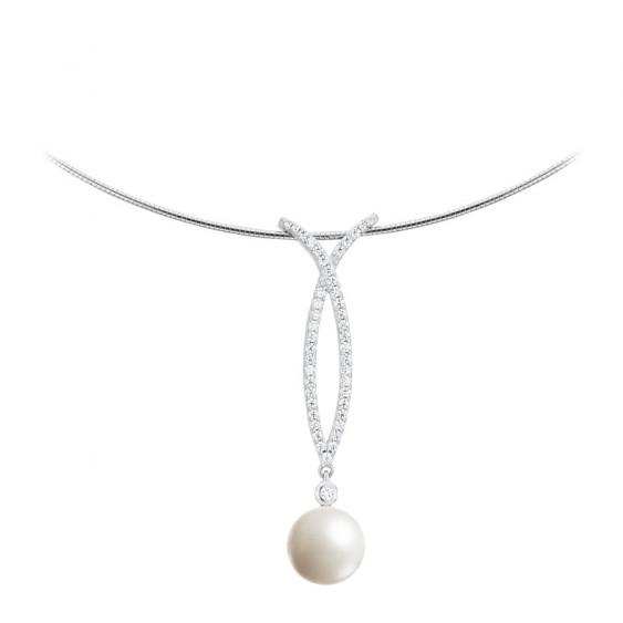 Collier Elsa Lee Paris, collection perles, en argent massif, descente d'oxydes de Zirconium et perle blanche