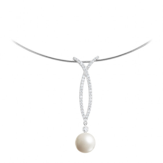 Elsa Lee Paris sterling silver necklace with 1 white pearl 10mm and 45 clear Cubic Zirconia
