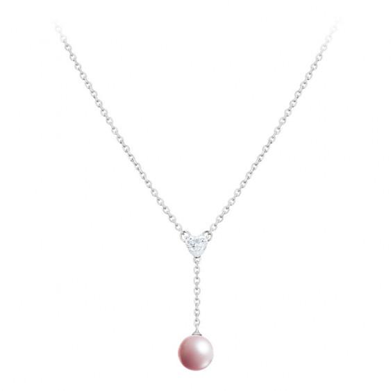 Collier pendant Elsa Lee Paris, collection la Vie en Rose, en argent massif avec perle rose et oxydes de ZIrconium