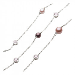 Elsa Lee Paris - 3 row silver necklace with 3 colours of pearls (pink, mauve and violet) and close set cubics zirconia