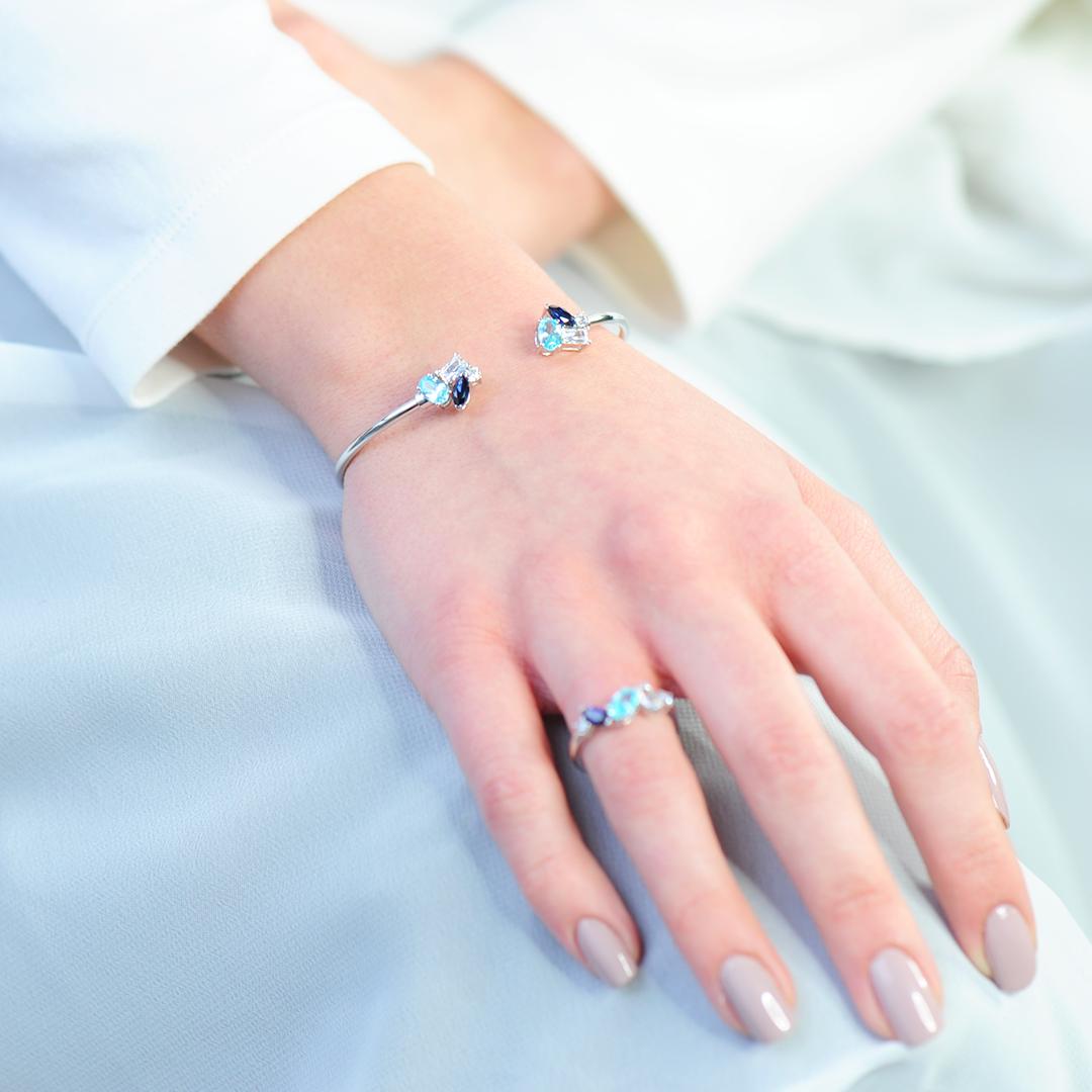 bracelet jonc argent aquamarine