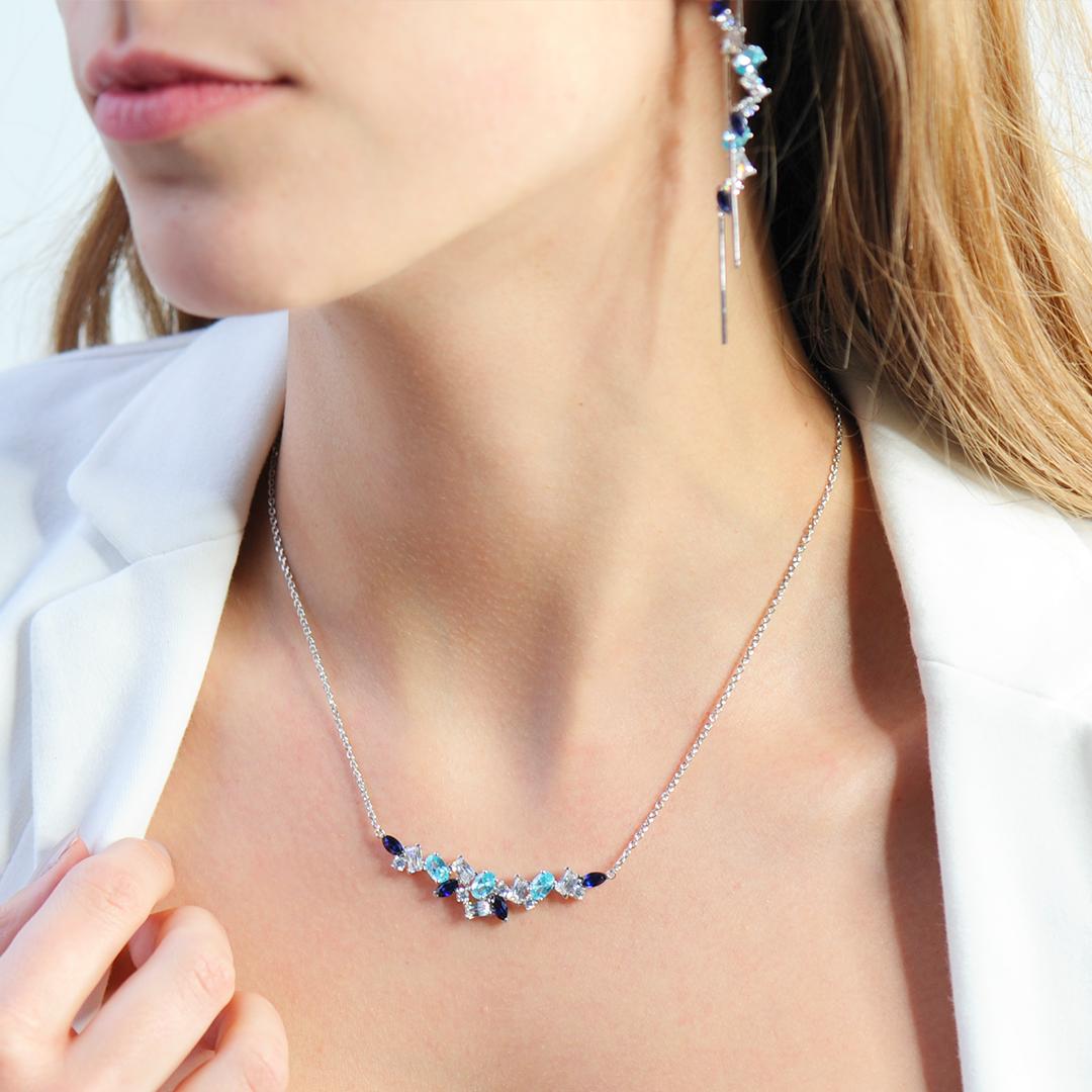 collier argent aquamarine