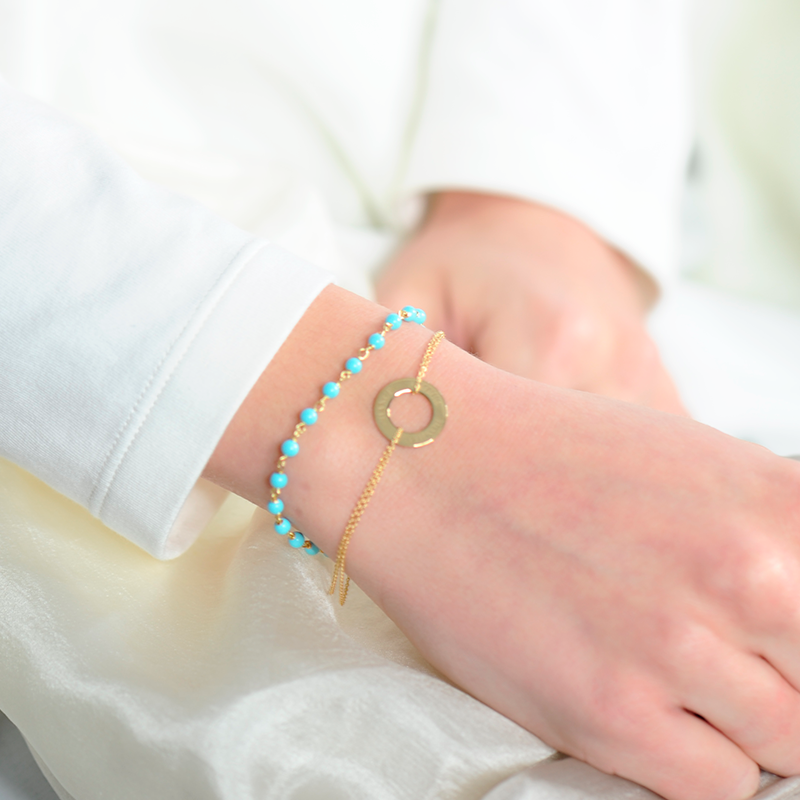 bracelet boheme chapelet turquoise