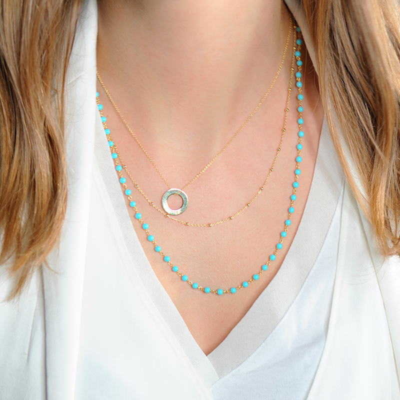 collier boheme chapelet turquoise