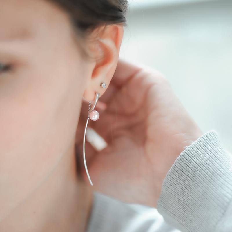 Boucles d'oreilles perles roses et argent