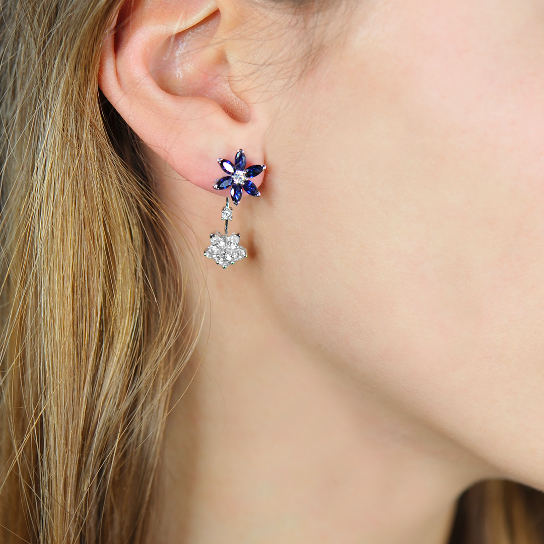 boucles d'oreilles argent saphir daisy