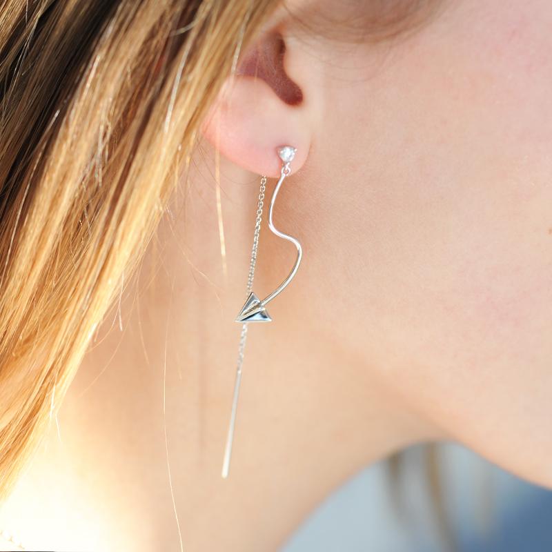 boucles d'oreilles argent asymétriques avion en papier