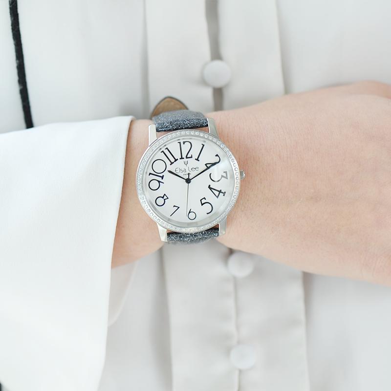 montre bracelet cuir gris