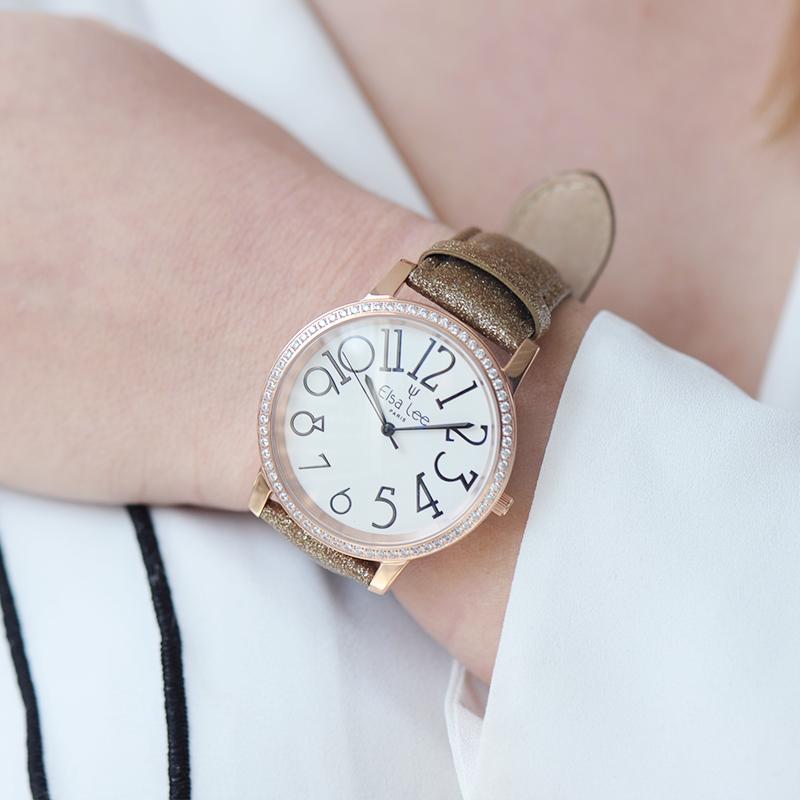 montre bracelet cuir marron
