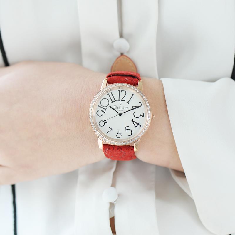 montre bracelet cuir rouge