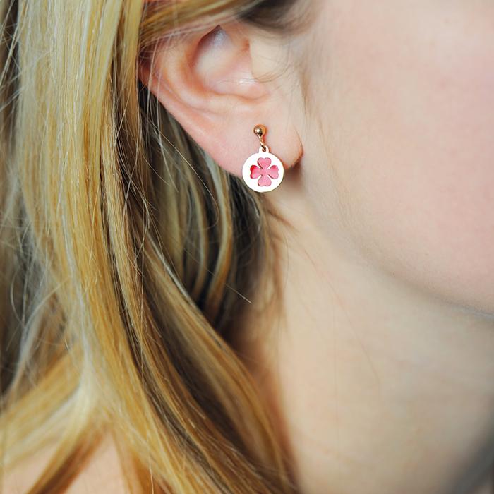 Boucles d'oreilles trèfles couleur or rose