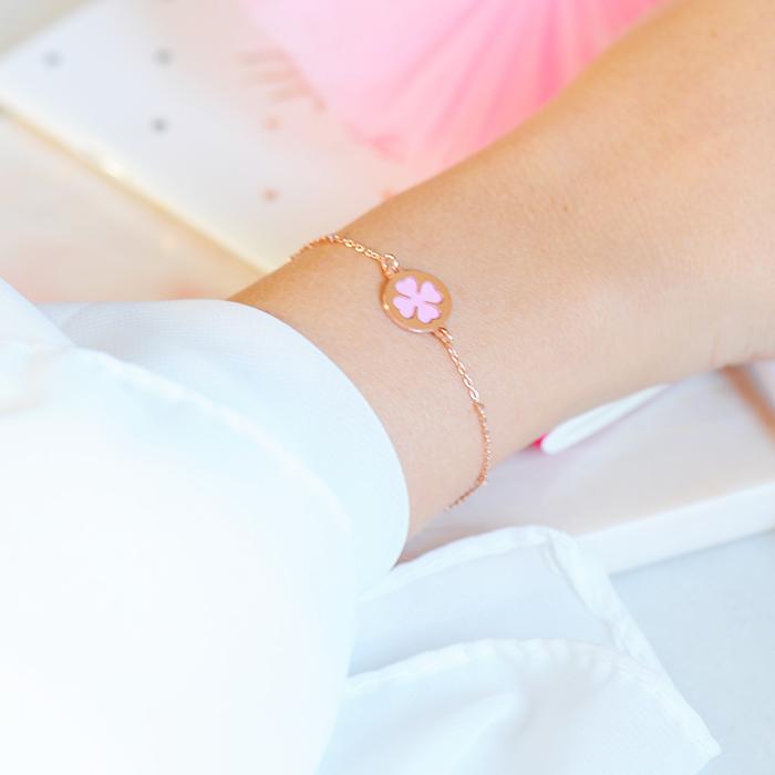 Bracelet trèfle couleur or rose