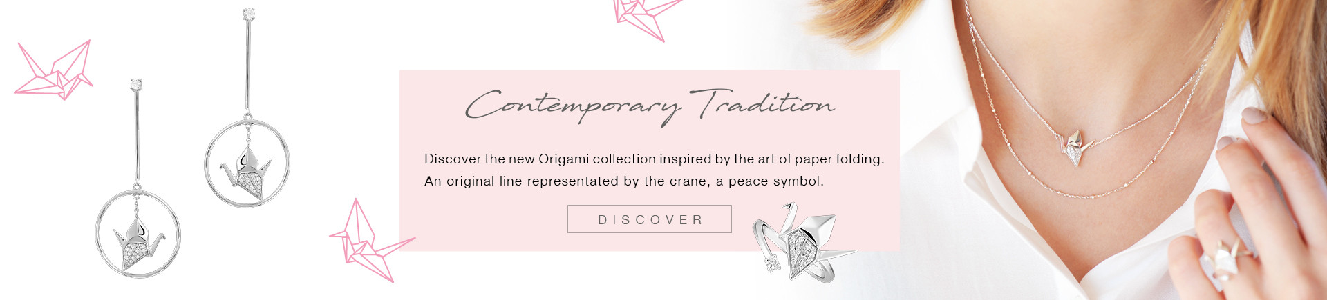 The new Origami collection is inspired by paper cranes, a traditional art of Japan.